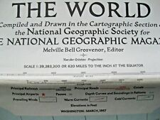 """National Geographic Map of """"THE WORLD"""" 1957  ..ref  H"""