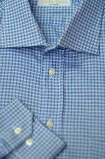 Groovy Man Men's French Blue White Check Luxury Cotton Casual Shirt XL XLarge