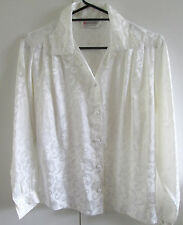 Ladies Sussan Size S Button Front Cream Jaquard Shirt Sheen Formal Event