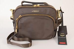 Tumi Troy light brown nylon leather logo cross body handbag purse NEW $225