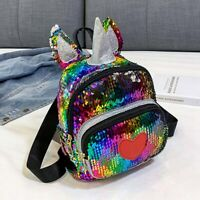 Cartoon Shiny Sequins Unicorn Mini Backpack Girl School Travel Shoulder Ksy