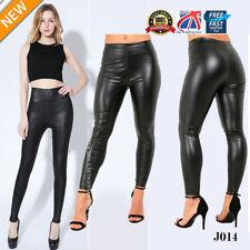 Ladies High Waist Black Faux Leather Leggings Wet Look Shiny Stretchy Plus J014