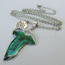 Lord Of The Rings Elven Green Leaf Pendant Necklace - 30in Chain