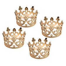 4pcs Vintage Baroque Mini Flower Girls Rhinestone Crown Tiara Headwear Gold