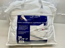 Superior Twin Mattress Topper, Hypoallergenic White Down Alt. Featherbed 39x75x2