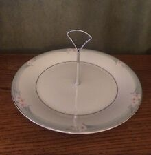 Royal Doulton SOPHISTICATION Green Band Pink Flowers ROUND SERVING PLATE HANDLE