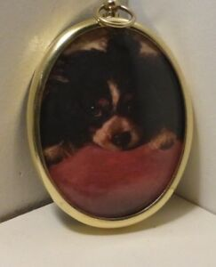 Miniature of spaniel in an oval brass frame