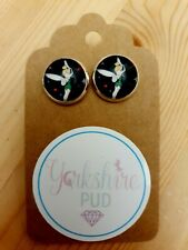 Tinkerbell Cath Kidston Print Silver Plated Earrings Fairy Stars Cute Vintage