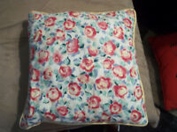 2 Handmade Red Yellow Floral Square Decorative Throw Pillows