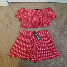 Boohoo Jen Polka Dot off shoulder crop & shorts set, size 8, red
