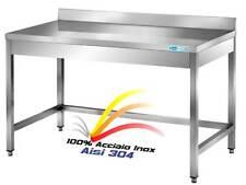 Tavolo In Acciaio Inox cm 200x60x85H con Alzatina Banco  Professionale