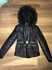 Ladies Size 12 Petite River Island Leather Look Biker Jacket Coat Faux Fur Hood