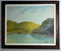 """19"""" Vintage Oil Painting Canvas Signed J. T. Albert Waterscape Bridge Florida"""