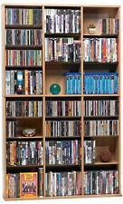Maple Media Storage DVD CD Organizer Cabinet Book Shelves Wood Shelf Adjustable