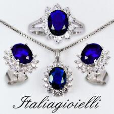 Sfarzosa Parure Zaffiro Plus Donna Argento 925 (Anello + Collana + Orecchini);