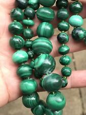 More details for vintage chinese art deco chunky heavy malachite lapis graduated bead necklace