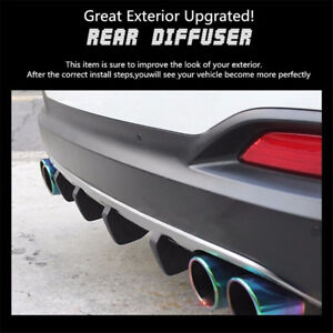 4Pcs Black Shark Fins Shape PVC Car Rear Bumper Diffuser Decor Car Exterior Look