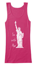"""""""I'm With Her"""" Statue of Liberty - Pink Women's Tank Top sz S Women's March"""