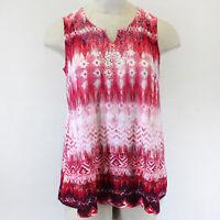 NEW Catherines Plus V-Neck Pink Rhinestones Sleeveless Top Shirt Blouse 2X