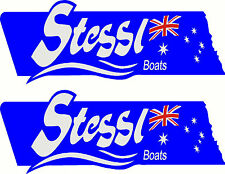 Stessl, 3 Colour, Fishing, Boat, Sticker Small Decal Set of 2