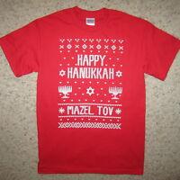 happy hanukkah ugly sweater christmas party mazel tov contest funny xmas t shirt