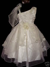 Girls Party Dress White Yellow 4 5 6 7 8 Years