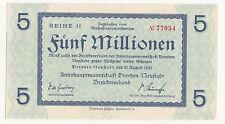 Geldschein 5 Millionen Mark Dresden Neustadt Reihe H 77054 kassenfrisch 1923 !