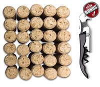 Straight Corks & Premium Wine Cork Stopper, Bag of 30 Corks 1-3/4 x 15/16 NEW