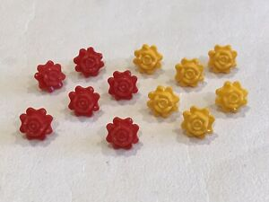 12 x Lego RARE Red & Yellow Friends Accessories Flower Rose P/N 93081c (A013)