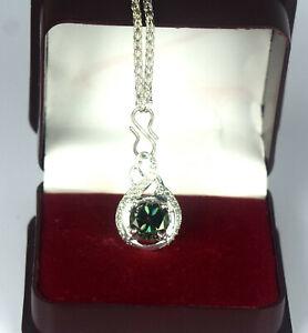 5.54 Ct  Green Diamond Solitaire Halo Certified Unisex Pendant