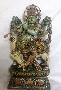 Hindu Temple God Krishna Sculpture Statue Handcarved Figurine Home Decor Murti