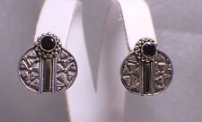 Solid Sterling Silver  Earrings with Garnet Beautiful Pair Gold Detail