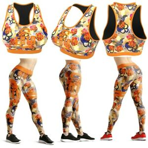 Ento Skull Rose Women Gym & Fitness Wear + Yoga Legging Race Back Bra Set