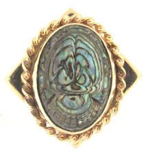 Fascinating Fine Gold Abalone Shell Ring 14k Yellow Gold Size 6