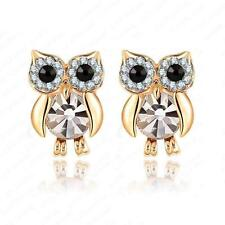 BLING OWL EARRINGS Post Stud Pair Bird NEW Jewelry Sparkling Rhinestone Crystal
