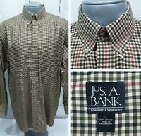 JOS. A BANK L Large L/S Shirt Travelers Button Down Beige Green Red Gingham