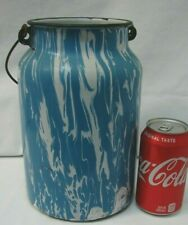 ANTIQUE BLUE AND WHITE SWIRL GRANITEWARE LARGE MILK BUCKET CAN