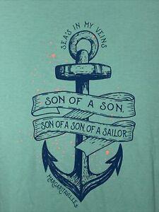 Margaritaville Son of a sailor Large T-shirts Green Jimmy Buffett Anchor Beach