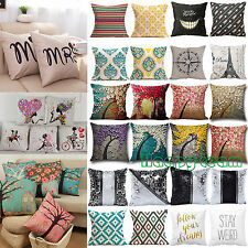 Vintage Cotton Linen Sofa Pillow Case Bed Waist Throw Home Decor Cushions Cover