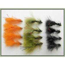 Trout Flies 12 Gold Head Flash Damsels Mixed Colours Size 10 Fly Fishing