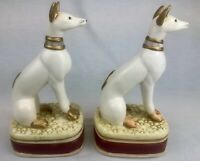 Vintage Pair of Greyhound Whippet Dog Bookends Ceramic Art Deco Hand Painted
