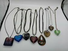 Costume Jewellery Bundle x8 Glass Pendant Necklaces inc Art Style Hearts Square