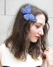 Large Blue Black Real Feather Butterfly Fascinator Hair Clip Rockabilly Vtg 5AL