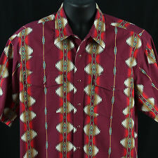 Wrangler Mens Size L Snap Shirt Western Cowboy Rodeo Rockabilly Red Large