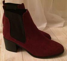 7cf4d830608271 NEU♥ RIVER ISLAND Stiefeletten Gr.39 Dunkel Rot Bordeaux Block Absatz Boots