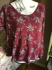Fab! Free People Size Small Elsa Open Back Pomegranate Floral Long Sleeve Top!