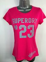 WOMENS SUPERDRY PINK LOGO PRINT SHORT SLEEVE CREW NECK CASUAL T SHIRT SIZE SMALL