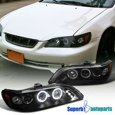 For 1998-2002 Honda Accord Led Dual Halo Projector Headlights Black SpecD Tuning