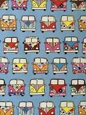 Camper Vans Blue Fabric Remnant 100% Cotton 50cm x 40cm