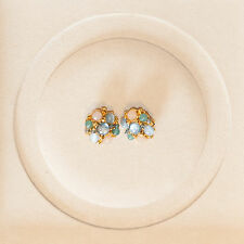 José and María Barrera 24k gold plated evening earrings, clip-on, moonstones